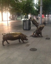 Pigs in Rundle Mall Adelaide