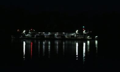 Mannum ferry at night