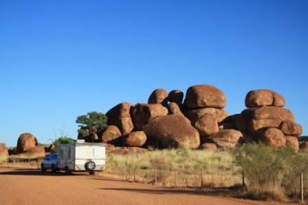 caravanning in central Australia