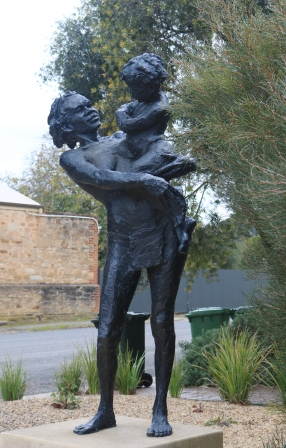 Aboriginal woman and child sculpture