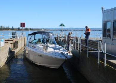 boat in the Goolwa lock